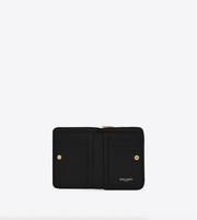 SAINT LAURENT / 생로랑 모노그램 컴팩트 지퍼 어라운드 반지갑 금장 블랙  Monogram compact zip around wallet in grain de poudre embossed leather
