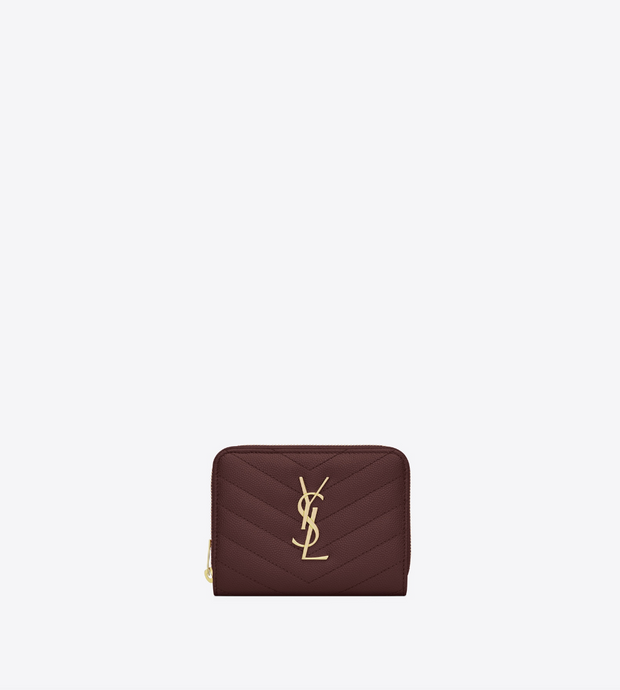 SAINT LAURENT / 생로랑 모노그램 컴팩트 지퍼 어라운드 반지갑 금장 버건디  Monogram compact zip around wallet in grain de poudre embossed leather