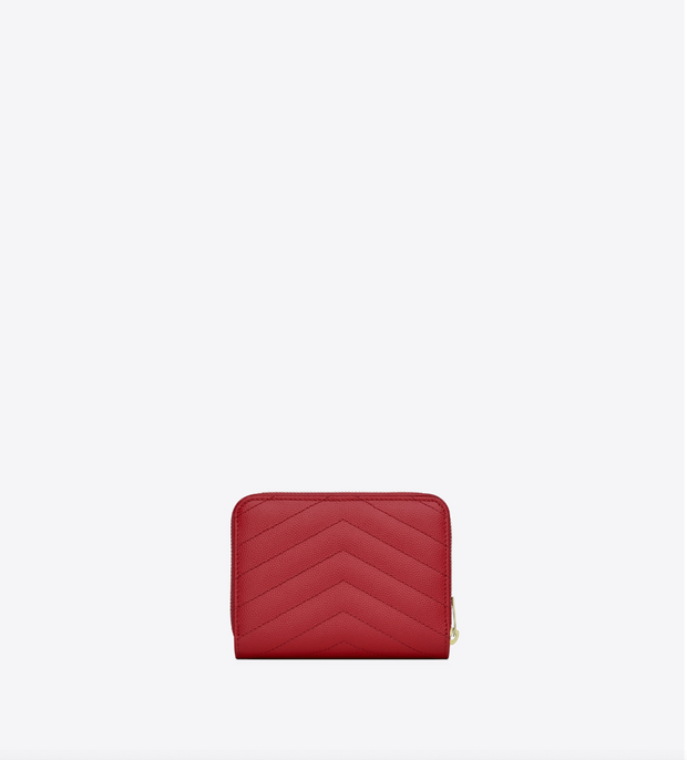 SAINT LAURENT / 생로랑 모노그램 컴팩트 지퍼 어라운드 반지갑 금장 레드  Monogram compact zip around wallet in grain de poudre embossed leather