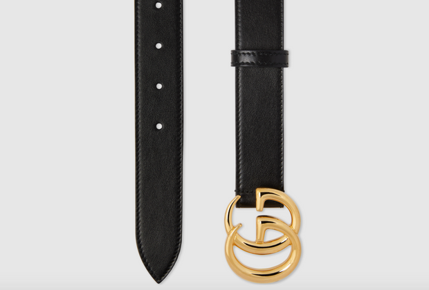 GUCCI / 구찌 더블 G 버클 남녀공용 벨트 3cm 유광 GG Marmont leather belt with shiny buckle