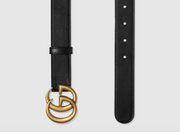 GUCCI / 구찌 더블 G 버클 남녀공용 벨트 3cm 무광 Leather belt with Double G buckle
