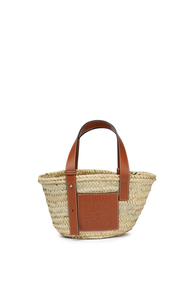 LOEWE / 로에베 라탄 바스켓백 스몰 탄 Small basket bag in palm leaf and calfskin