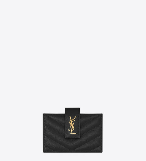 SAINT LAURENT / 생로랑 모노그램 아코디언 카드케이스 블랙 Monogram business card case in grain de poudre embossed leather