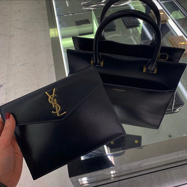 SAINT LAURENT / 생로랑 업타운 스몰 토트백 소프트레더 블랙 Uptown small tote in shiny smooth leather