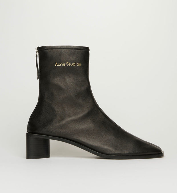 ACNE STUDIO / 아크네 스튜디오 앵클부츠 블랙 Branded leather boots black/black