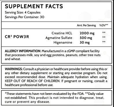 CR3 Inspired Nutraceuticals 120 Capsules - The Power of 3 CREATINE