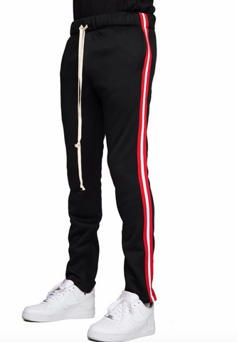 Fleece track pants black and red stripe - Mansion Boutique, Durham, NC