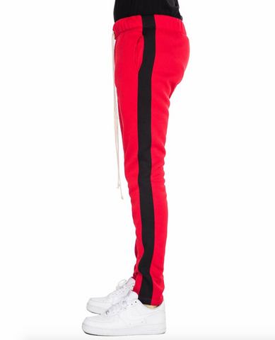 red and Black  motto cross track pants by eptm - Mansion Boutique, Durham, NC