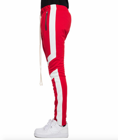 red and white motto cross track pants by eptm - Mansion Boutique, Durham, NC