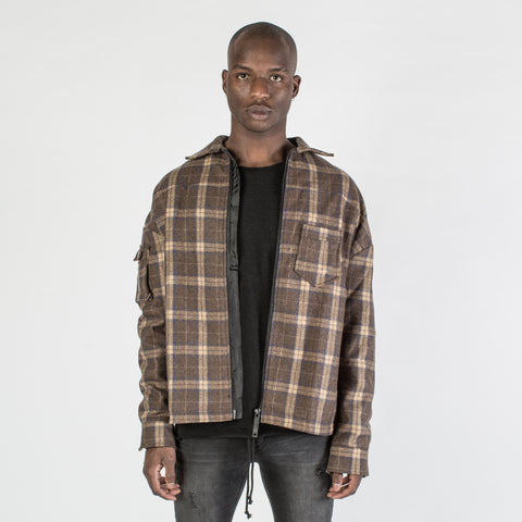 Kollar brown and blue Flannel shirt , jacket - Mansion Boutique, Durham, NC