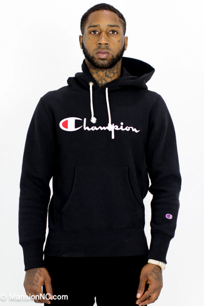 Black Champion Vintage Hoodie  Reverse Weave 212574 - Mansion Boutique, Durham, NC