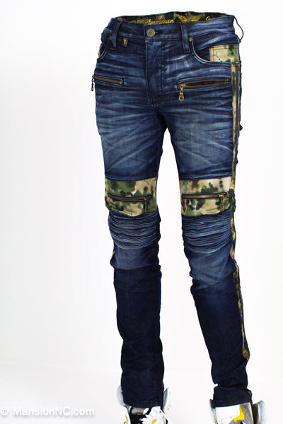 Robins jeans slim fit stretch, Indigo blue , Tie dye Camo Biker - Mansion Boutique, Durham, NC