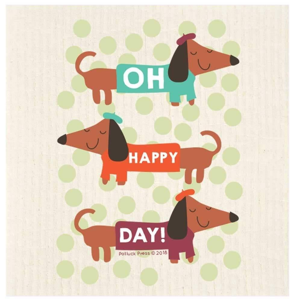 Oh Happy Day Dachshund Swedish Dishcloth - The Vintage Home Studio