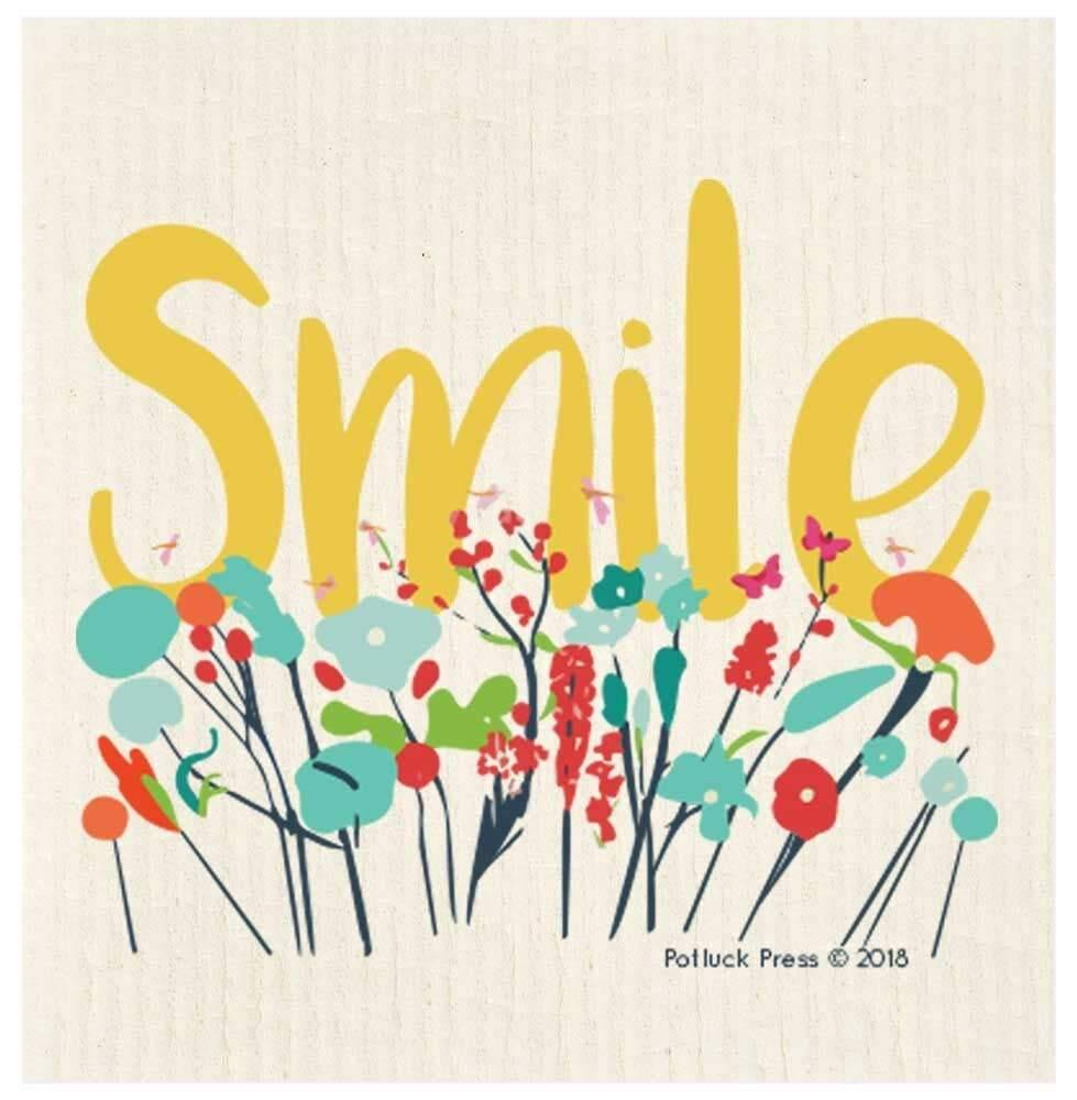 Smile Flowers Swedish Dishcloth - The Vintage Home Studio
