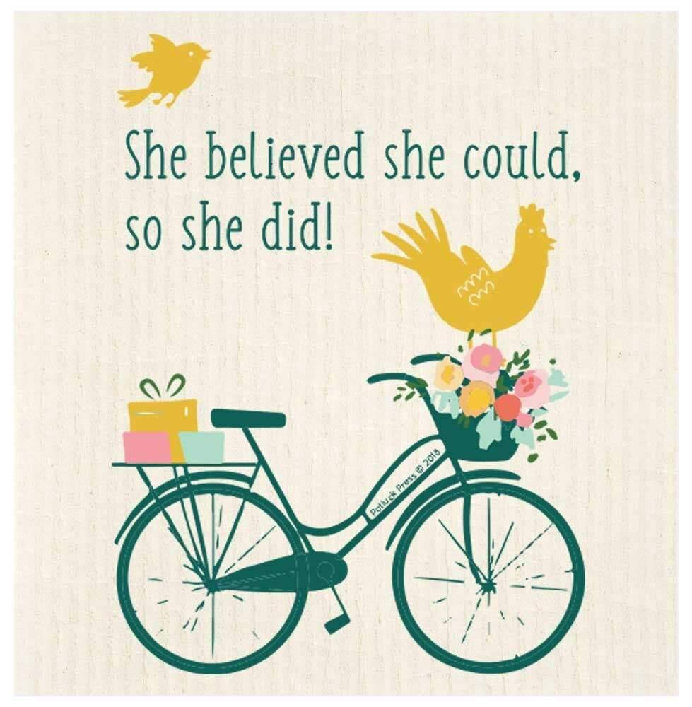 She Believed She Could Bike Swedish Dishcloth - The Vintage Home Studio