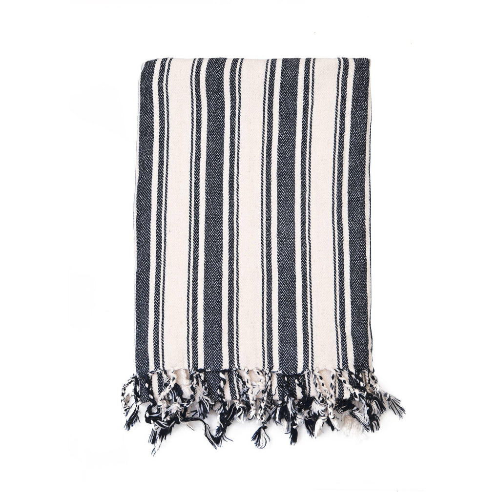 Cotton Linen Blend Striped Throw - The Vintage Home Studio