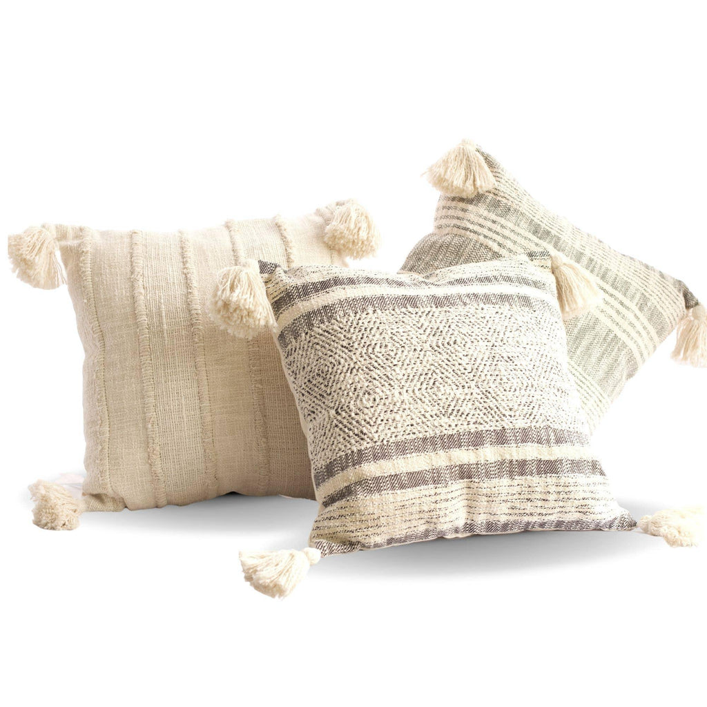 Cotton Pillows with Tassels - The Vintage Home Studio