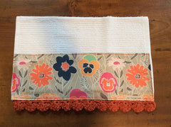 Khaki Flowers Crochet Kitchen Bar Mop Towel
