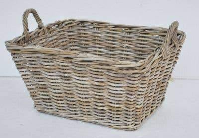 Rectangular Rattan Storage with Handles - Large - The Vintage Home Studio