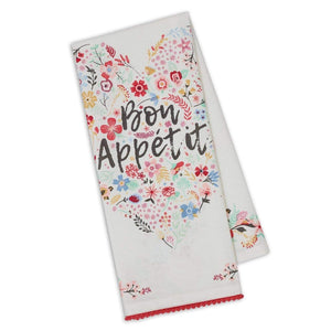 Bon Appetit Fleur Heart Embellished Dishtowel - The Vintage Home Studio