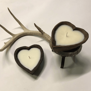 Hand Carved Wooden Heart Candles