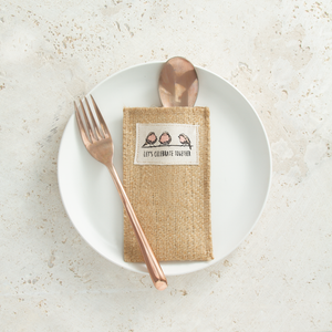 Celebration Birds Jute Silverware Pouches