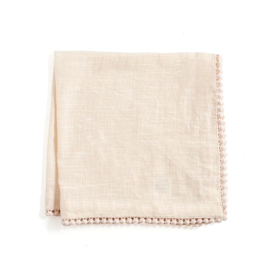 Cream Cotton Napkins with Coin Lace Trim - The Vintage Home Studio