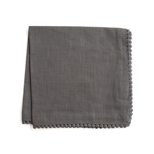 Load image into Gallery viewer, Grey Cotton Napkins with Coin Lace Trim