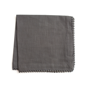 Grey Cotton Napkins with Coin Lace Trim