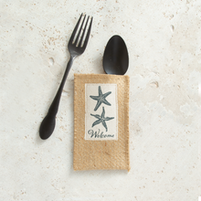 Load image into Gallery viewer, Starfish Jute Silverware Pouches