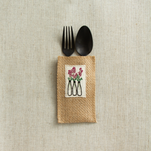 Load image into Gallery viewer, Flower Vase Jute Silverware Pouches