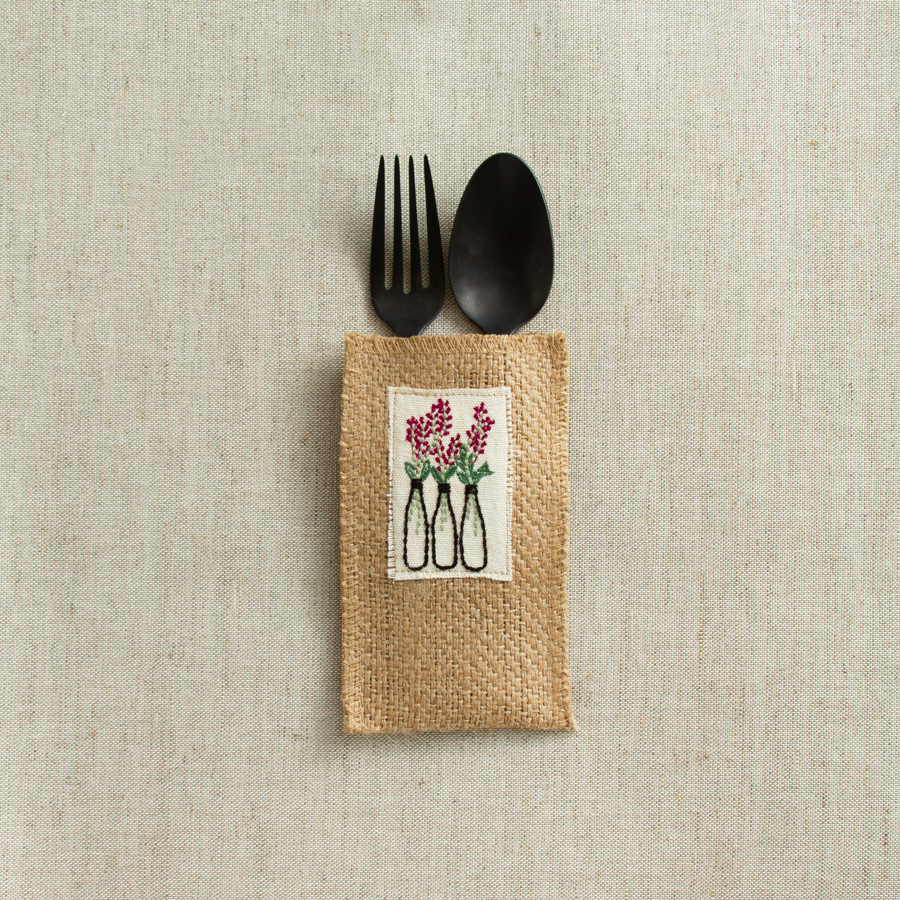 Flower Vase Jute Silverware Pouches