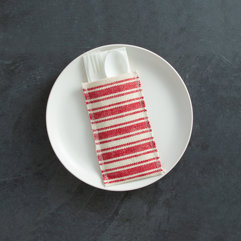 Red Striped Cotton Silverware Pouches - The Vintage Home Studio