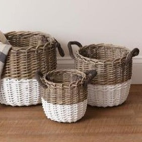 White and Wicker Round Baskets - The Vintage Home Studio