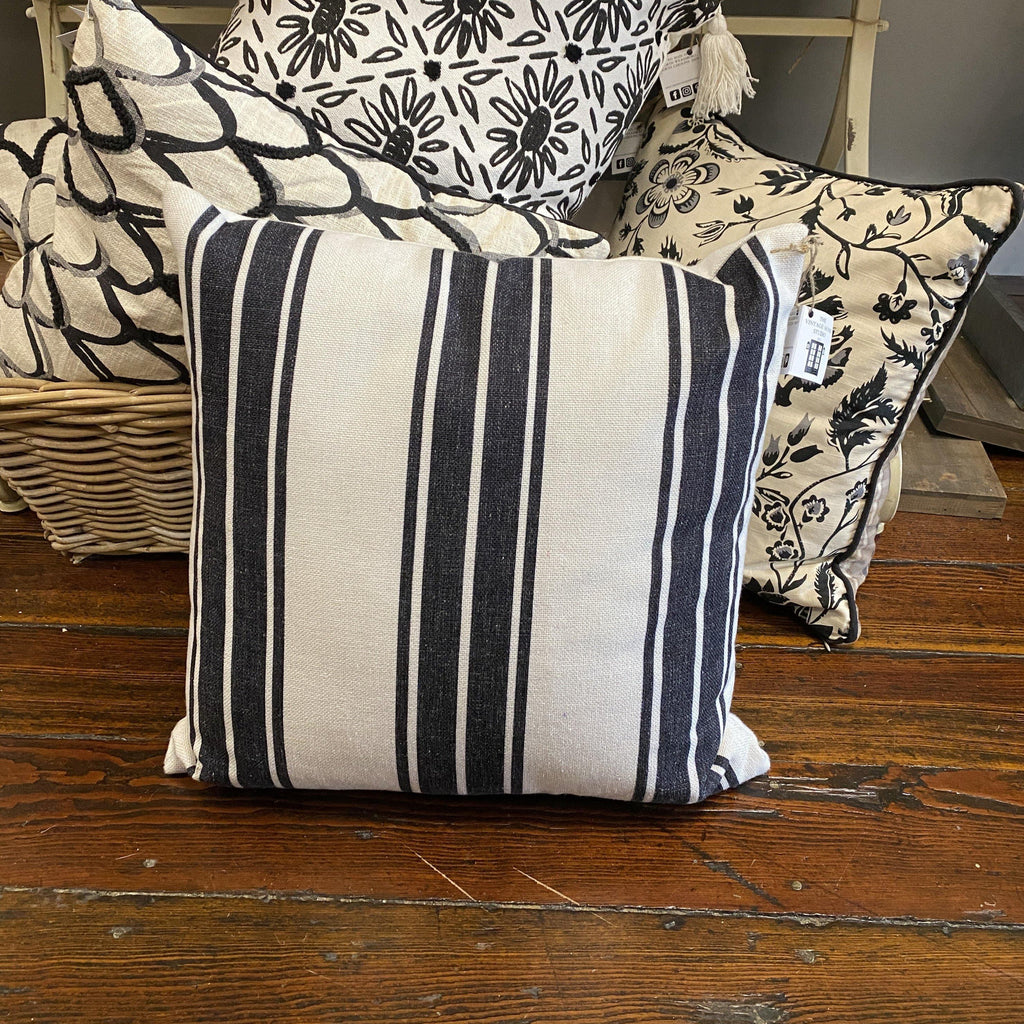 Black and White Striped Pillow - The Vintage Home Studio