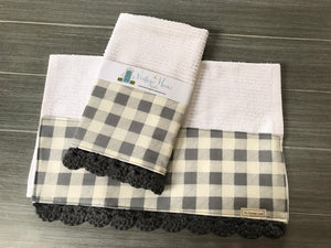 Gray Farmhouse Buffalo Check Crochet Kitchen Bar Mop Towel