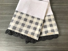 Load image into Gallery viewer, Gray Farmhouse Buffalo Check Crochet Kitchen Bar Mop Towel