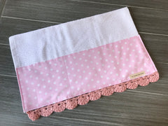 Pink Polka Dot Crochet Kitchen Bar Mop Towel