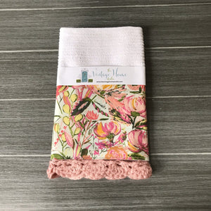 RETIRING Painted Desert Morning in Blush Crochet Kitchen Bar Mop Towel - The Vintage Home Studio