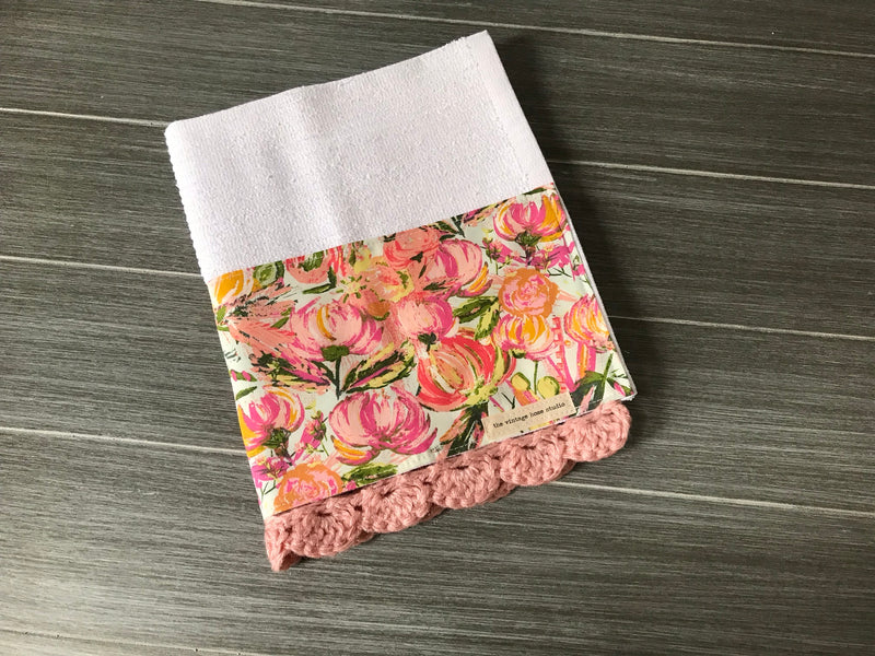Painted Desert Morning in Blush Crochet Kitchen Bar Mop Towel