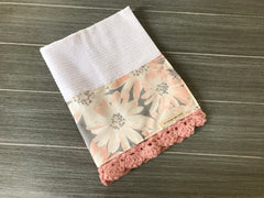Peach Anemones Crochet Kitchen Bar Mop Towel