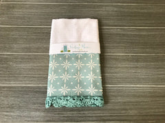 Farmhouse Flourish in Blue Crochet Kitchen Bar Mop Towel