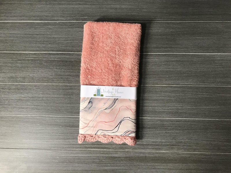 Pink and Navy Marble Bath Crochet Hand Towel