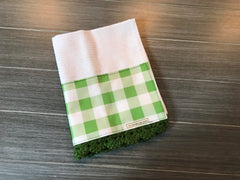 Fall Farmhouse Buffalo Check in Sage Crochet Kitchen Bar Mop Towel