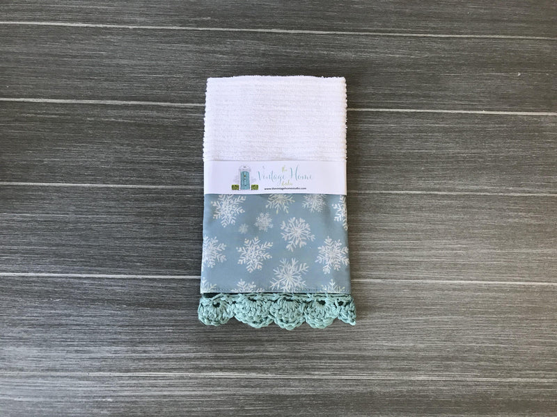 Not Too Shabby Snowflakes Crochet Kitchen Bar Mop Towel