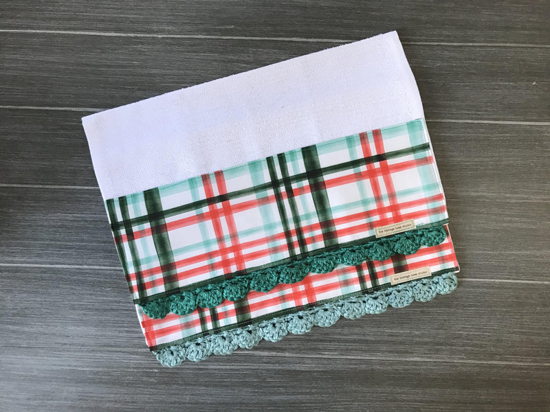 Shabby Watercolor Holiday Plaid Crochet Kitchen Bar Mop Towel