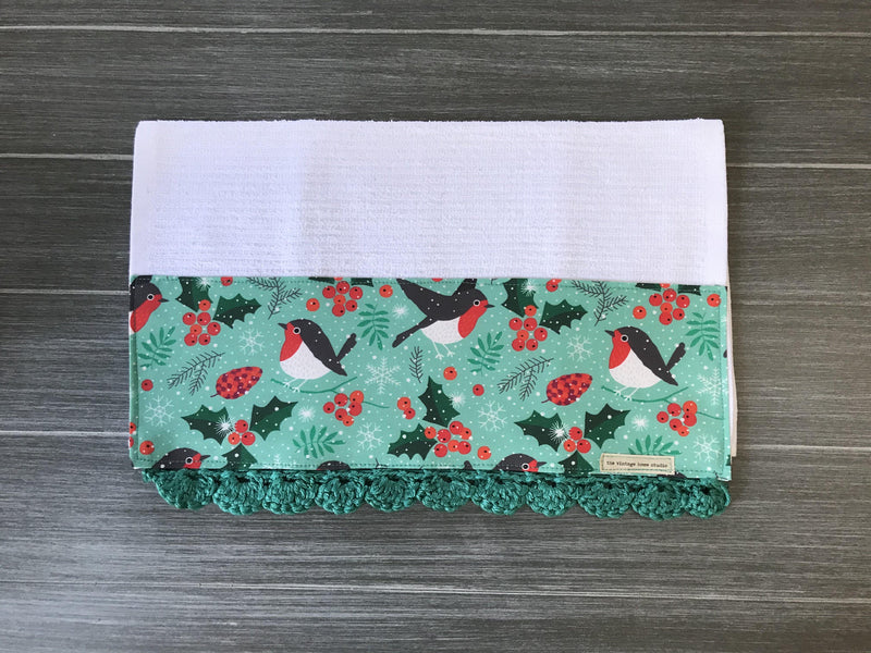 Robin Birds and Holly Berries Crochet Kitchen Bar Mop Towel