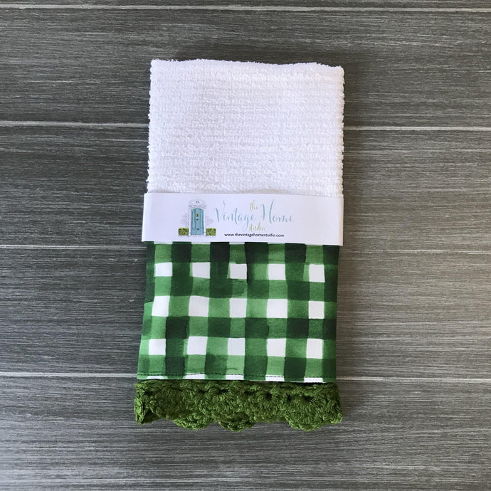 Green Watercolor Farmhouse Buffalo Check Crochet Kitchen Bar Mop Towel - The Vintage Home Studio