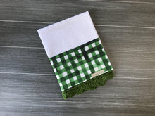 Load image into Gallery viewer, Green Watercolor Farmhouse Buffalo Check Crochet Kitchen Bar Mop Towel