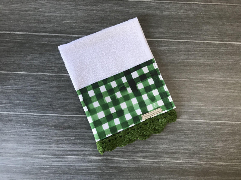 Green Watercolor Farmhouse Buffalo Check Crochet Kitchen Bar Mop Towel